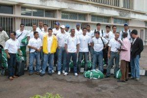 seleção de Brasília na chegada a Moçambique