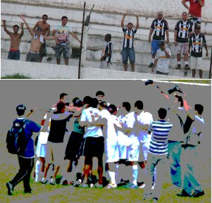 Torcedores e jogadores comemoram a vaga