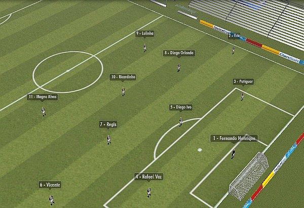 Nos últimos jogos, o Ceará tem alternado entre o 3-5-2 e o 4-4-2.